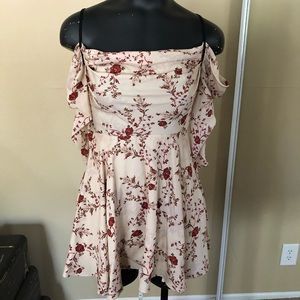 Cream with Burgundy Floral Dress